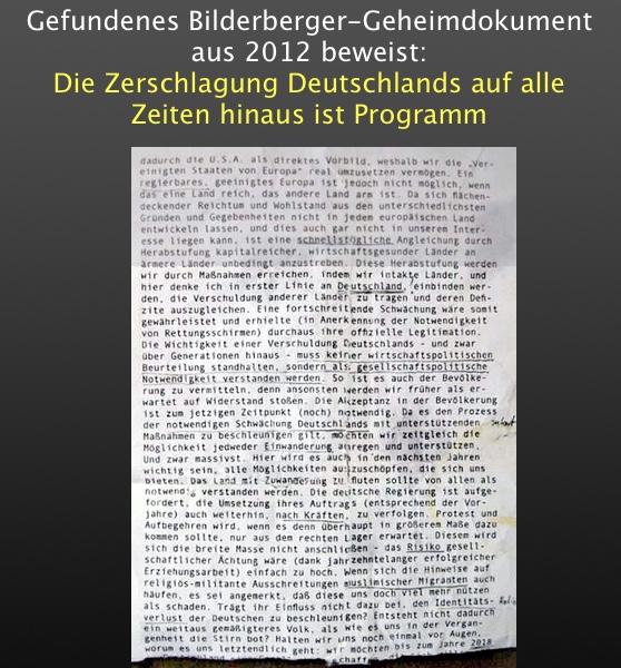 Gefundenes Bilderberger-Geheimdokument aus 2012 beweist: Die Zerschlagung Deutschlands auf alle Zeiten hinaus ist Programm