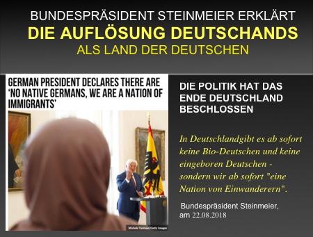 """EILMEDLUNG: Bundespräsident Steinmeier erklärt, dass es keine Einheimischen mehr gibt: """"Wir sind ab sofort eine Nation von Einwanderern""""."""